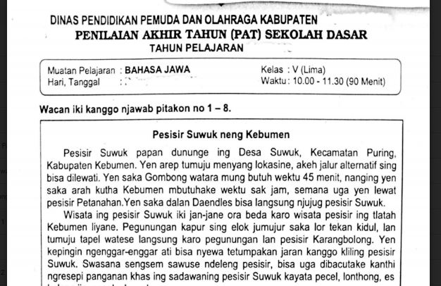 Soal Ulangan Bahasa Jawa Kelas 5 Semester 2 K13