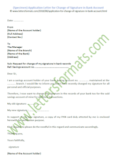 Application Letter for Change of Signature in Bank Account (Sample)