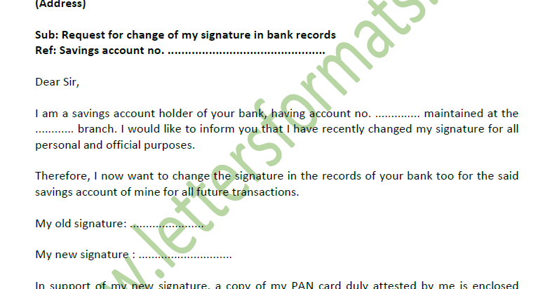 Application Letter For Change Of Signature In Bank Account Sample
