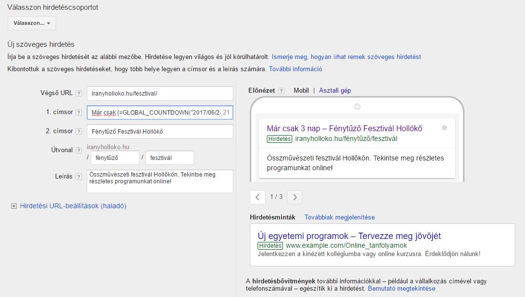 """691d7513bf Visszaszámlálós"""" hirdetésszövegek használata AdWords-ben - WebMa ..."""