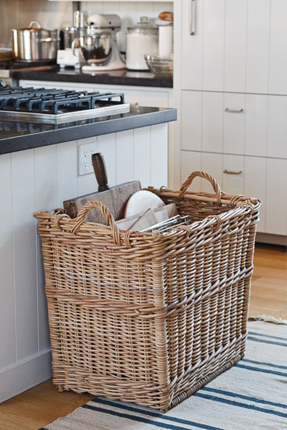 5 creative kitchen storage ideas you can diy | The rattan basket storage.