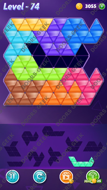 Block! Triangle Puzzle 9 Mania Level 74 Solution, Cheats, Walkthrough for Android, iPhone, iPad and iPod