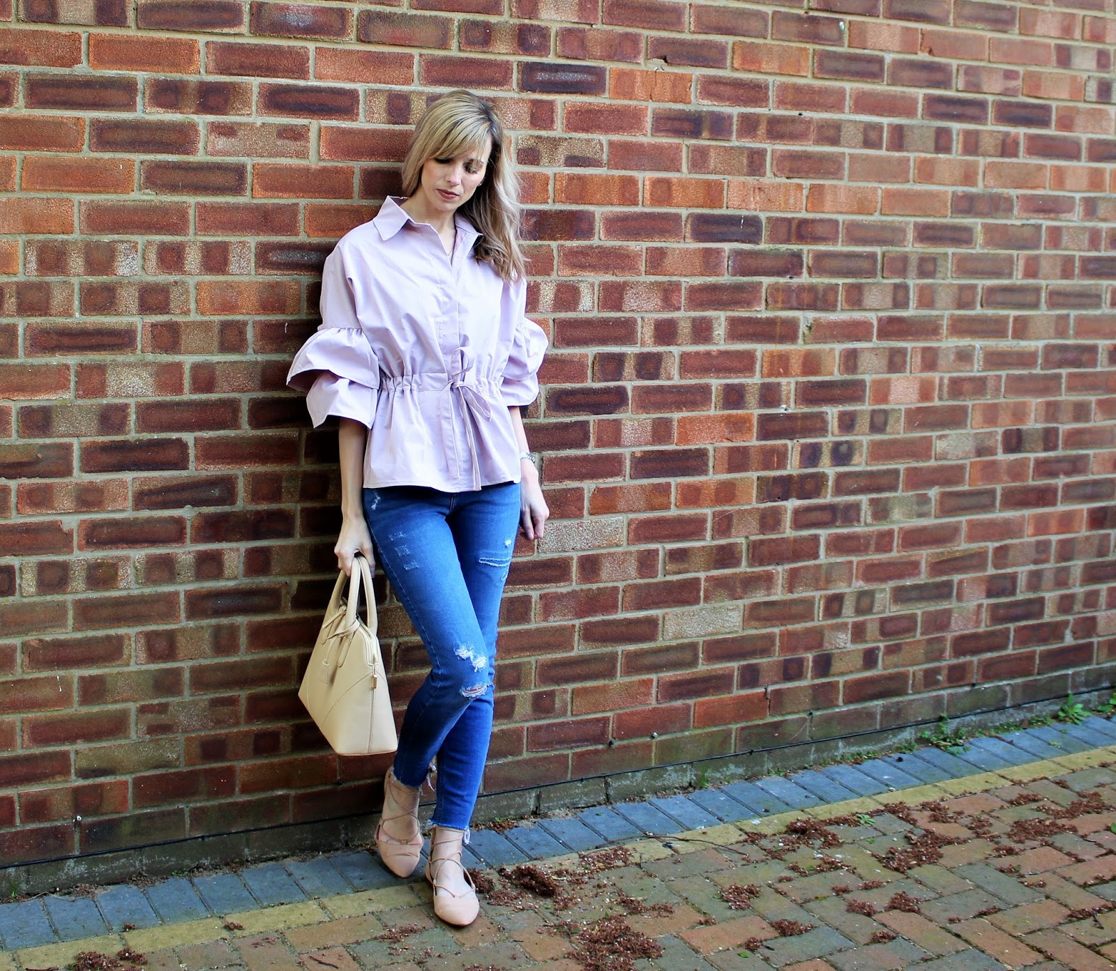 OOTD featuring a ruffled Shein blouse in blush pink - 2