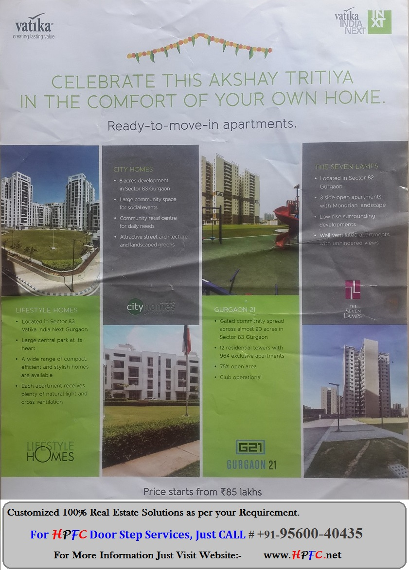 Ready to Move Floors, Flats, Apartments - Vatika India Next Township, Gurgaon (Gurugram)