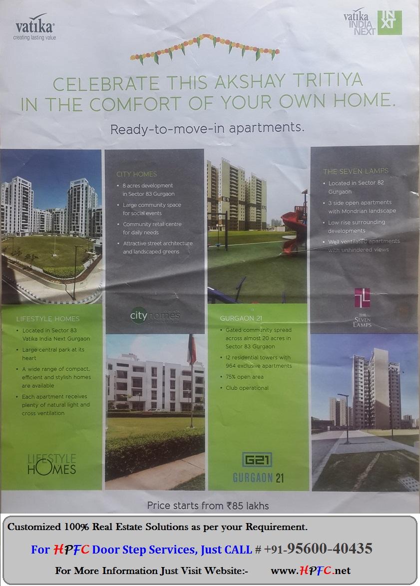Ready to Move Floors, Flats, Apartments - Vatika India Next Township, Gurgaon (Gurugram)