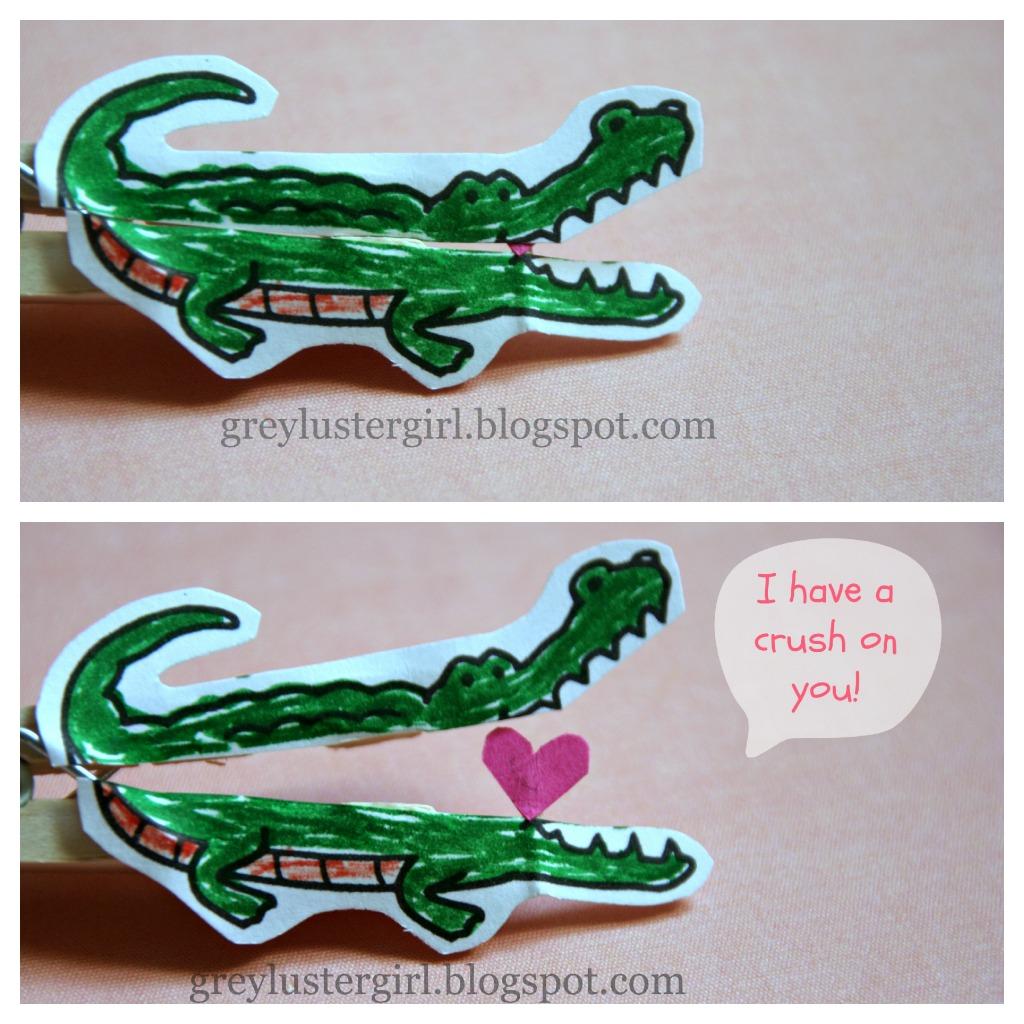 Kids Alligator Valentine S Day Clothes Pin Craft