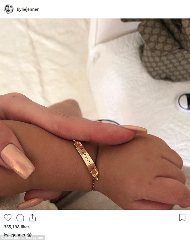 Kylie Jenner gifts her seven-month-old daughter Stormi a customized gold bracelet