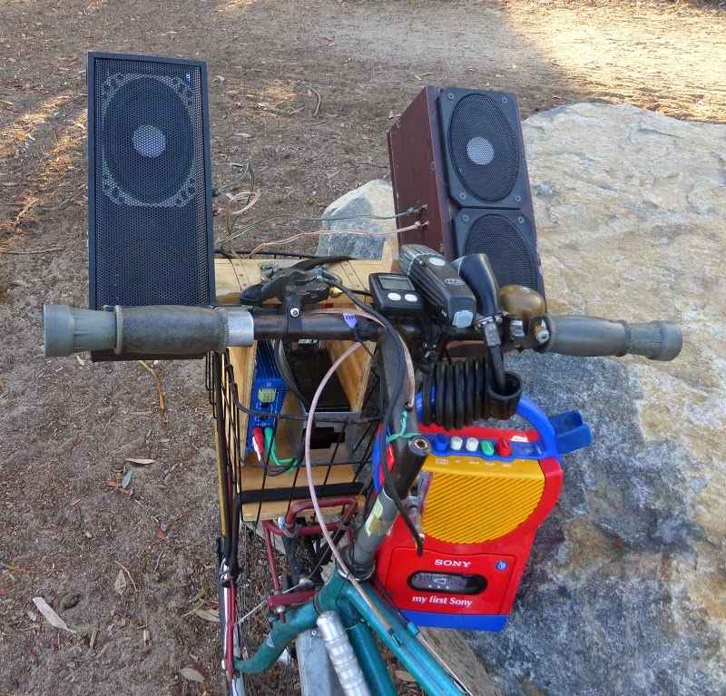 close up view of bike stereo in action