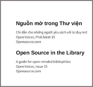 Nguồn mở trong thư viện: Chỉ dẫn cho những người yêu sách với tư duy mở - bản dịch sang tiếng Việt