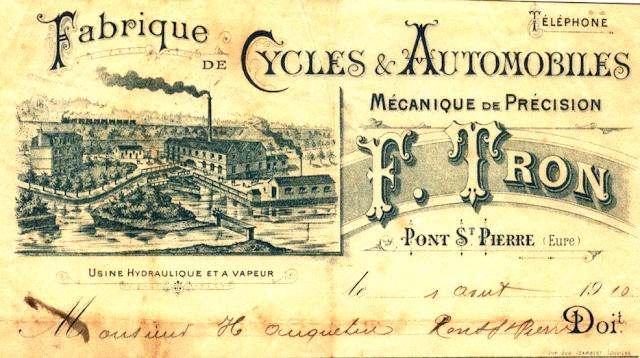 Tron et Berthet à Pont-Saint-Pierre - La selle Idéale. Le papier à en-tête en 1910