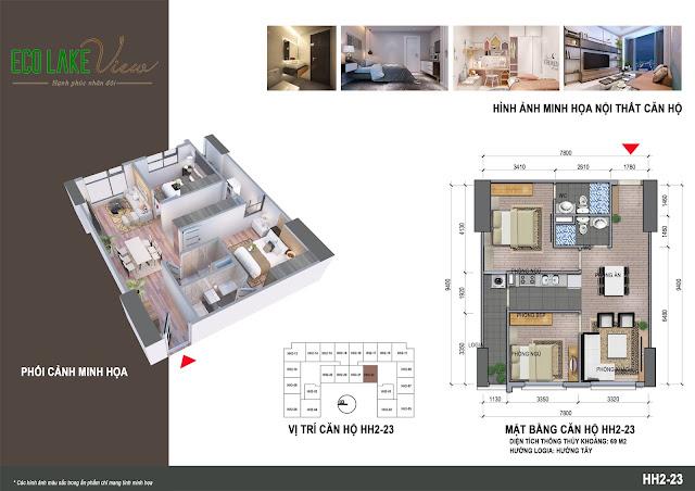 Thiết kế căn hộ 23 tòa HH-02 Eco Lake View
