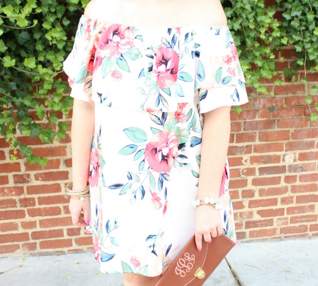My Kind of Lovely Floral Off-The-Shoulder Ruffled Dress