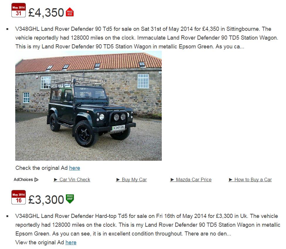 EBAY SCAM : 1999 Land Rover Defender 90 TD5 Station Wagon | V348GHL