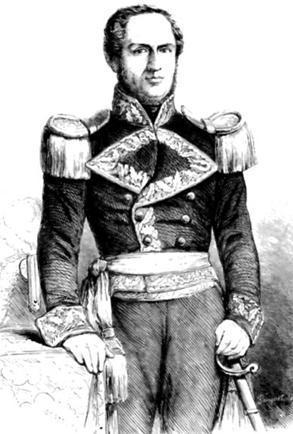 Dibujo de José Rufino Echenique vestido de militar