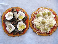 Pizza vegetariana con masa de zanahoria