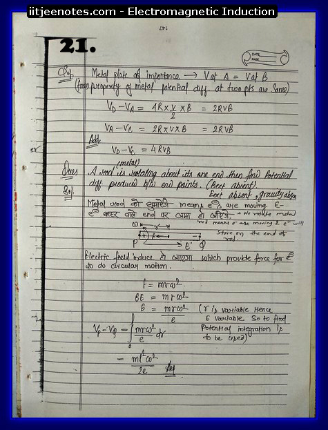 Electromagnetic Induction Notes IITJEE7
