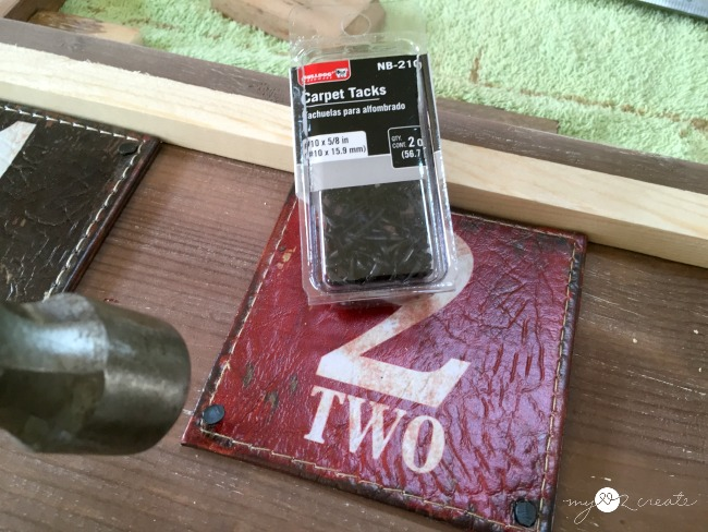 attaching leather coasters to wood with carpet tacks