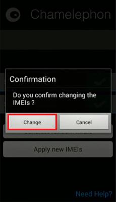confirmar el cambio de imei