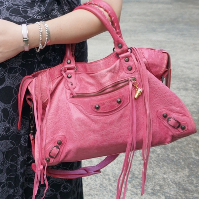 AwayFromTheBlue | Hermes pale pink clic clac bracelet tiffany silver stack Balenciaga sorbet city bag