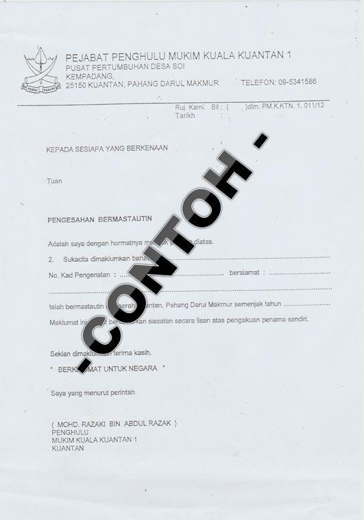 Pejabat Penghulu Mukim Kuala Kuantan 1 Contoh Borang Pengesahan Permastautin