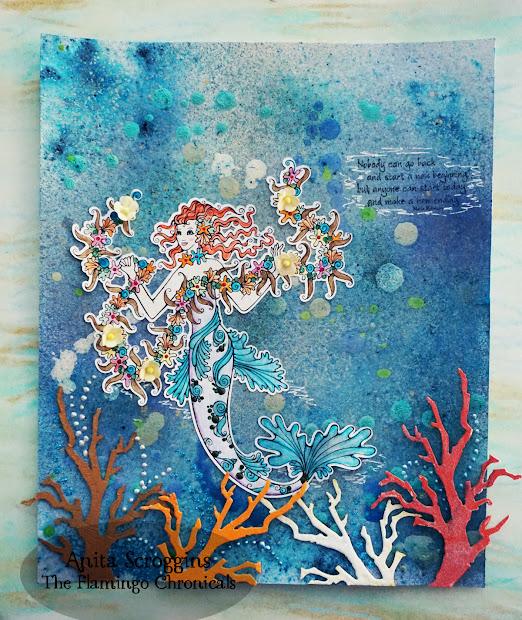 Mermaid Mixed Media Art Flamingo Chronicals
