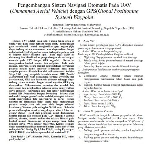 Pengembangan Sistem Navigasi Otomatis Pada UAV (Unmanned Aerial Vehicle) dengan GPS [Paper]