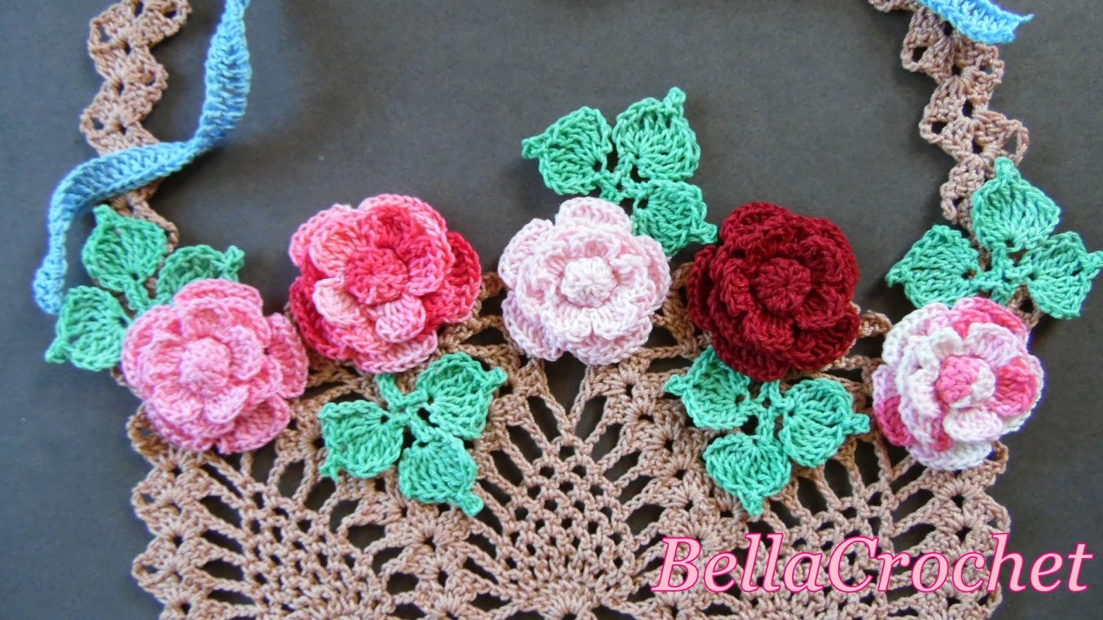 Free Crochet Flower Basket Pattern : Bellacrochet flower basket of roses a free crochet
