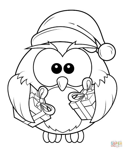 Christmas Owl With Gift Boxes