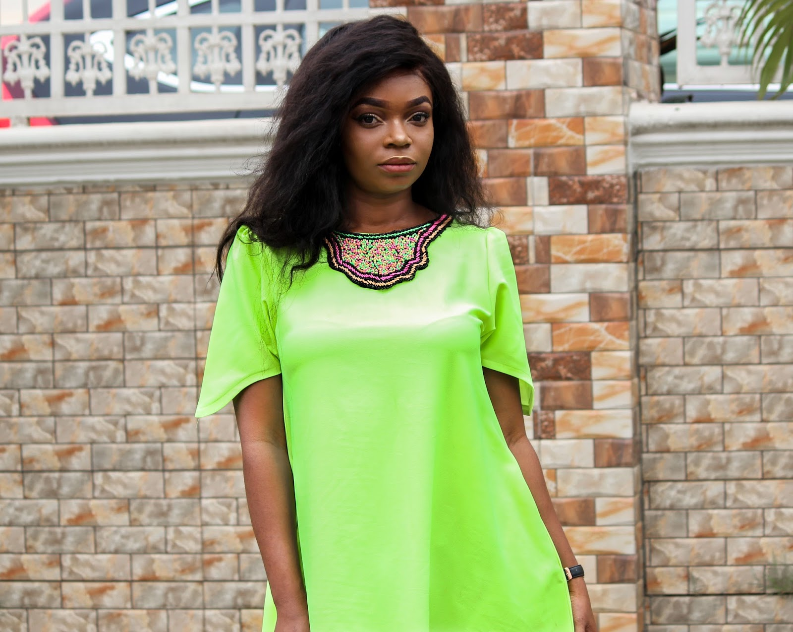 NEON HI-LO SHIFT DRESS - Neon Hi-Lo Shift Dress with Bead Detailing by Porshher