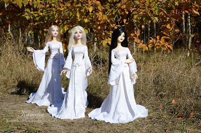 White celtic fantasy gowns for dolls