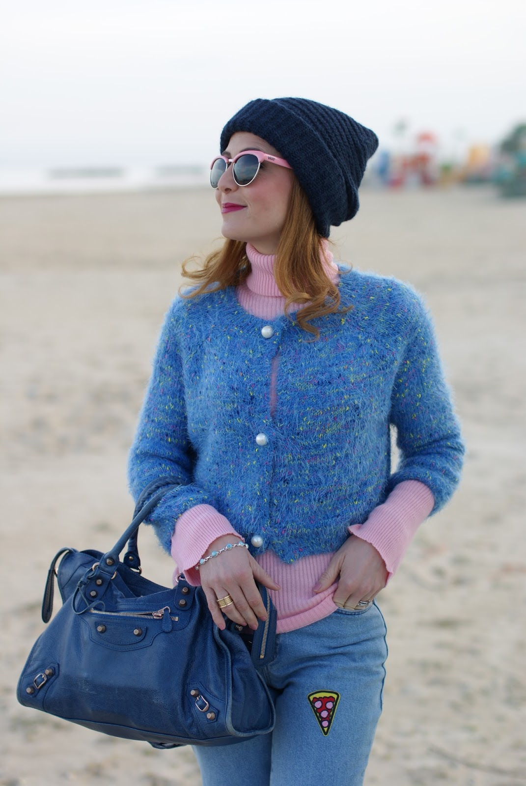 Mom patched jeans, pink turtleneck, Balenciaga bag on Fashion and Cookies fashion blog, fashion blogger style