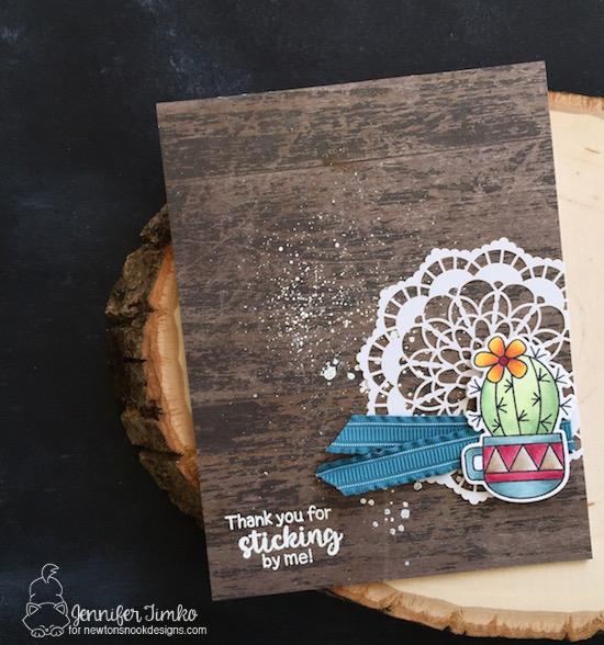 Thanks for Sticking By Me Card by Jennifer Timko | Cuppa Cactus Stamp Set by Newton's Nook Designs #newetonsnook #handmade