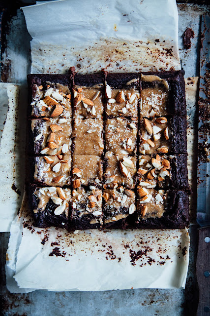GOOEY BROWNIES with ALMOND BUTTER FROSTING