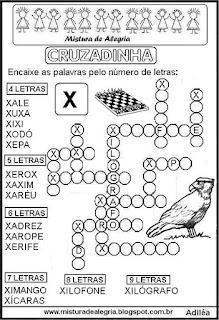 Cruzadinha com a letra X