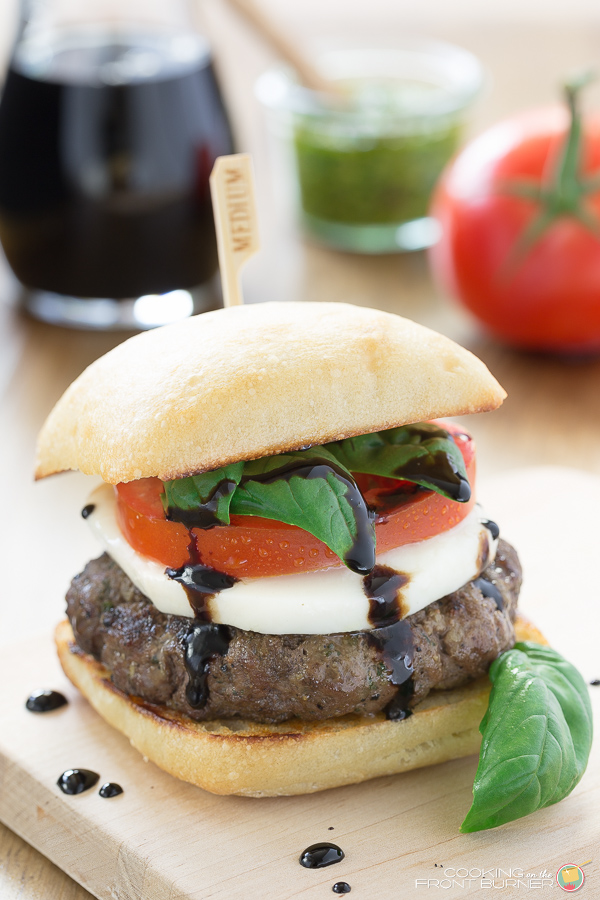 Caprese Burger with Balsamic Glaze | Cooking on the Front Burner