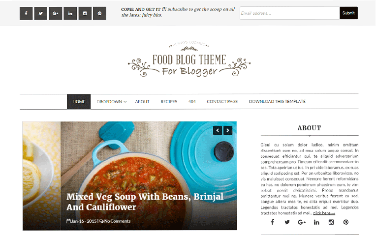 Food Blog Free Blogger Template