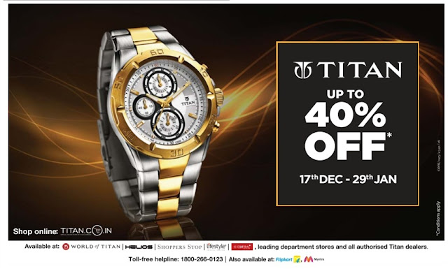 Titan watches up to 40% off | January 2017 discount offers
