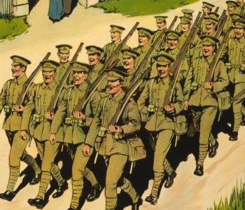 Detalle de un póster de fusileros reales del año 1915