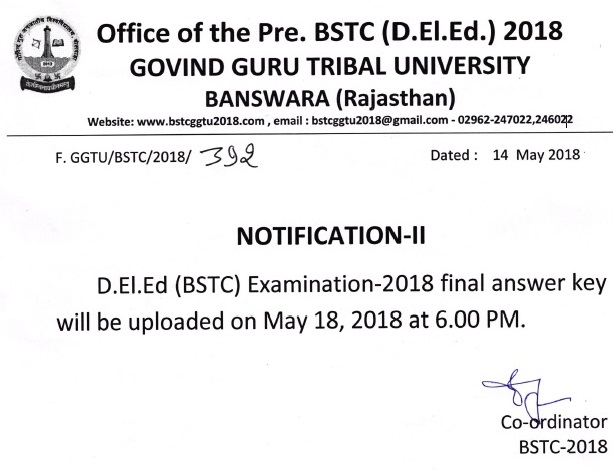 bstc answer key 2019 download