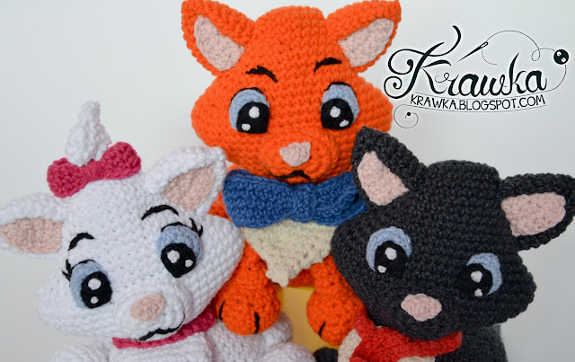 Krawka: Aristocats - Marie, Belioz, Toulouse - crochet pattern for all 3 kittens
