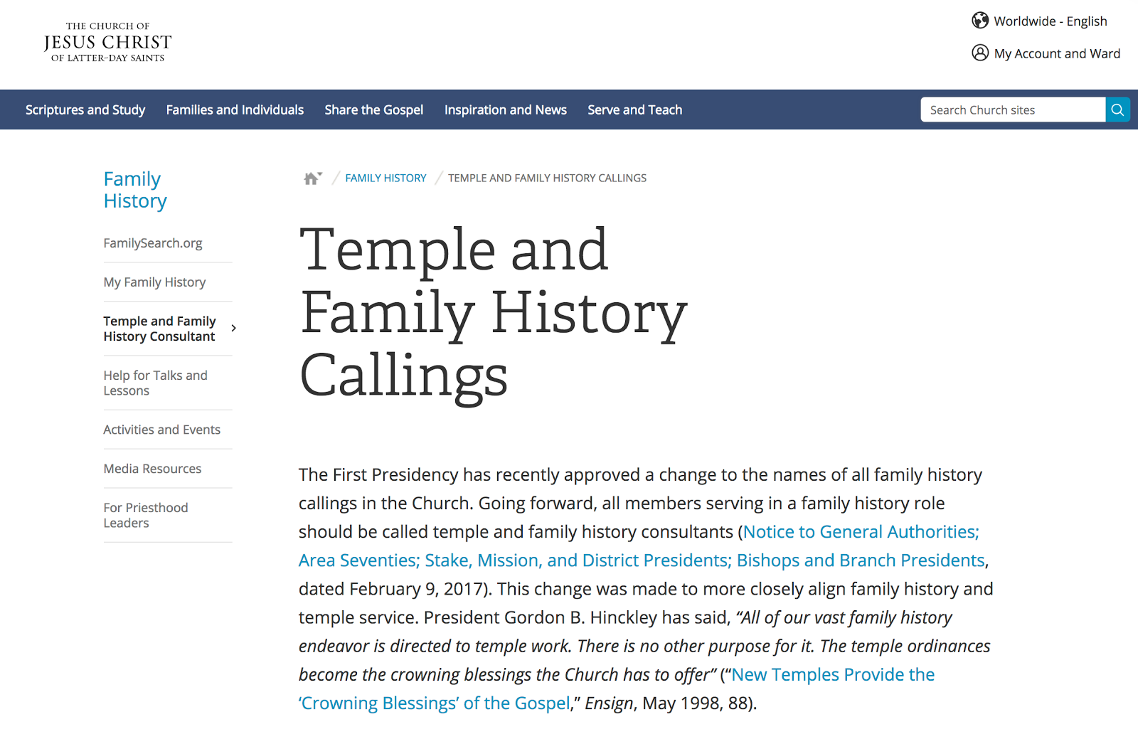 Rejoice, and be exceeding glad   : Temple and Family History