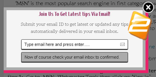 Pop Up Email Subscription Box For Blogger