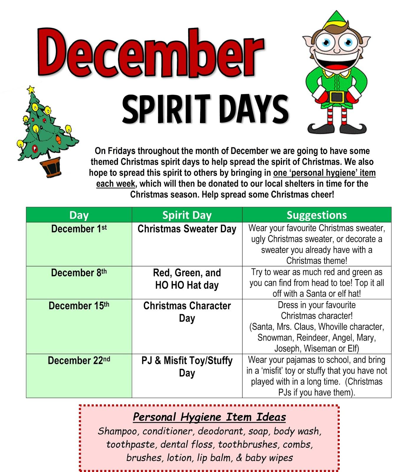 Miss. Brioux\'s Grade 5/6 Classroom Blog: Christmas Spirit Days ...