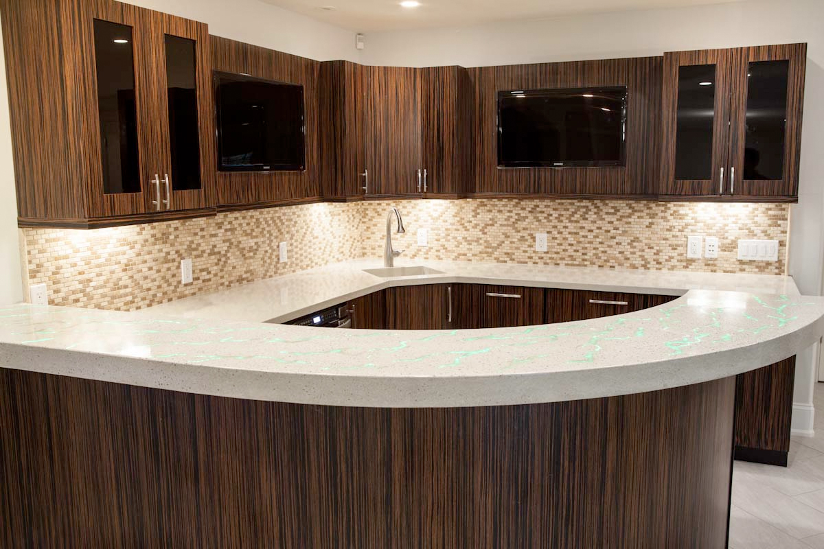 Fiber Optic Countertop Basement Living Concrete Design And Fabrication Group