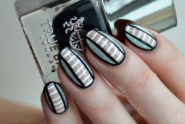 geometric free hand stripes contrast crelly  nails