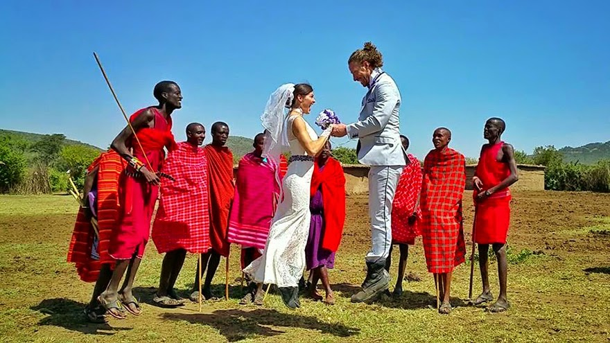 Masai Mara Village, Kenya - Acrobat Couple Gets Married In 38 Different Places Around The World In 83 Days