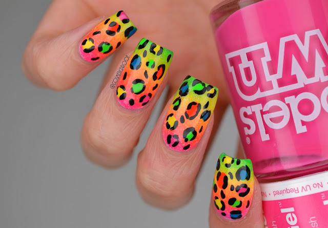 Lisa Frank Leopard Print Nail Art