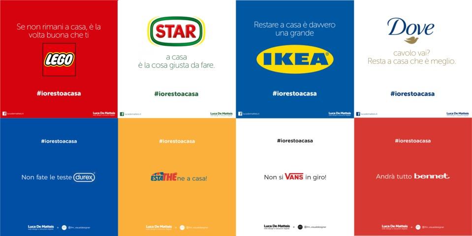 Luca De Matteis e FM Visual Designer: utilizzare i brand per lo slogan #iorestoacasa.