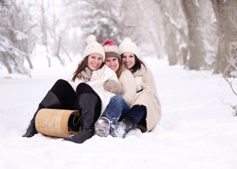 women girls snow toboggan Nature Always Attract Me towards snow