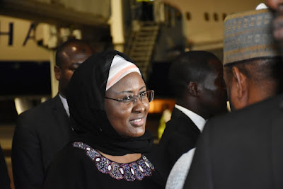 4 - Mrs Aisha Buhari returns from the UK after visit with husband, relays the president's message to Nigerians (photos)